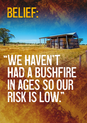Belief: We haven't had a bushfire in ages so our risk is low.