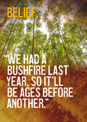 Belief: We had a bushfire last year, so it'll be ages before another.